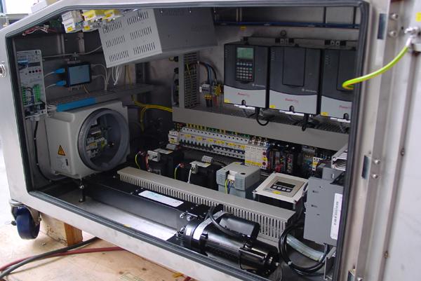 Binnenaanzicht van een mobiele unit met overdruksysteem